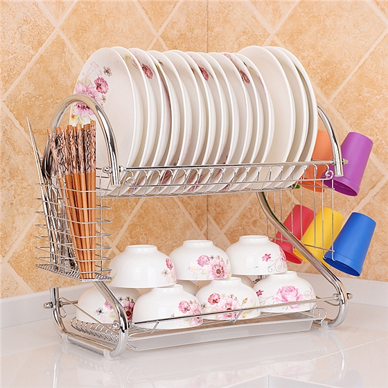 利茸雙層瀝水收納碗架放碗碟架