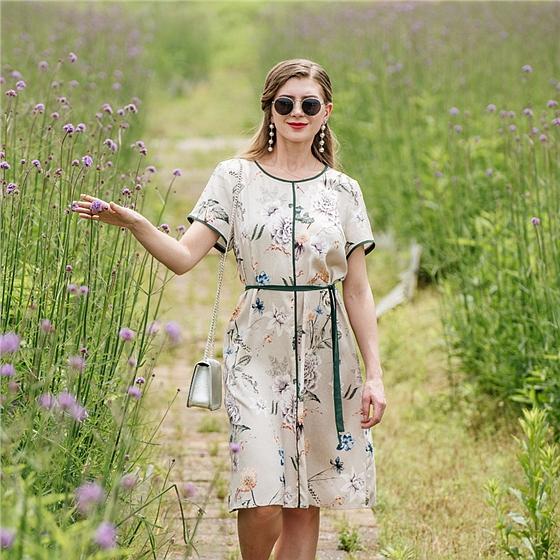 尚街時裝周花卉重磅真絲連衣裙