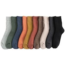 秋冬保暖加厚纯色毛圈袜10双
