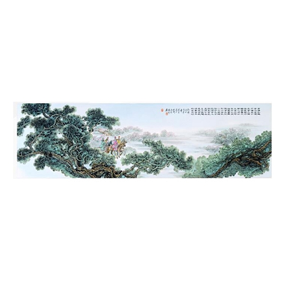 张松茂《孔明出山》粉彩瓷板画