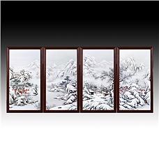 《瑞雪迎春》粉彩雪景四条屏