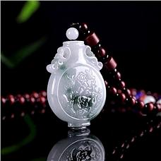 JCN珠寶淺浮雙面雕翡翠寶瓶