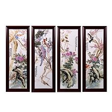 《四季花鸟》富贵四条屏