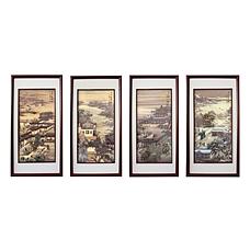 《皇园盛景》瓷板四条屏套组