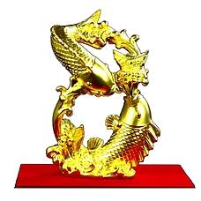 中国白银八方进宝双鱼摆件